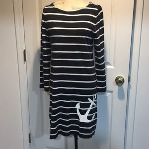 J. Crew Nautical navy and white anchor dress.
